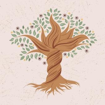 Vie d'arbre tordu dessiné à la main