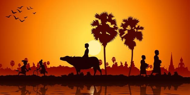 La vie à la campagne en asie