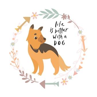 La vie avec un chien est un meilleur lettrage