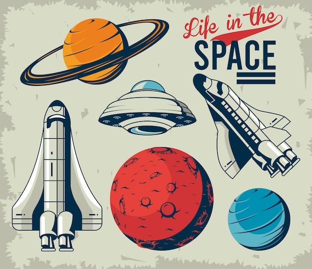 Vie dans le lettrage de l & # 39; espace avec des icônes définies dans l & # 39; illustration de style vintage affiche