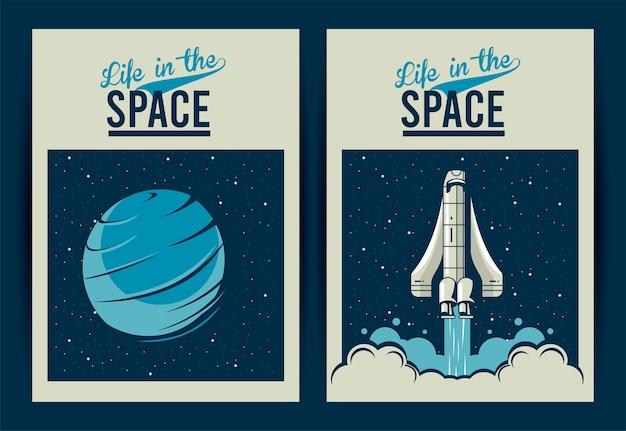 Vie dans les lettres de l & # 39; espace avec vaisseau spatial et planète vénus dans des affiches de style vintage