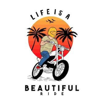 La vie est belle balade motorcycle beach typographie pour tshirt imprimé avec palmbeach et moto