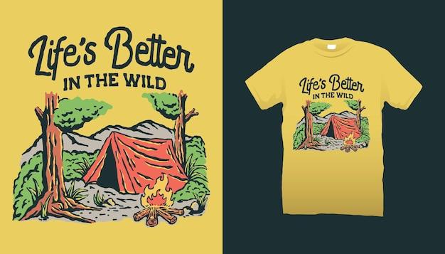 La vie est meilleure dans l'illustration du camping sauvage
