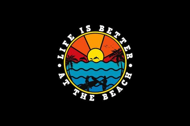 .la vie est meilleure à la plage, style rétro de silhouette de conception