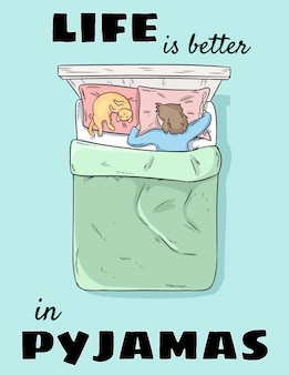 La vie est meilleure en pyjama. fille dormant dans un lit avec un chat en pyjama