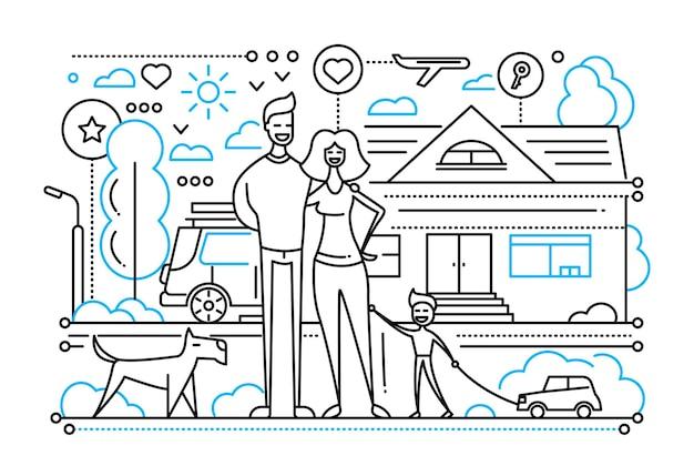 Vie de famille - composition de ville de ligne simple moderne avec une famille heureuse