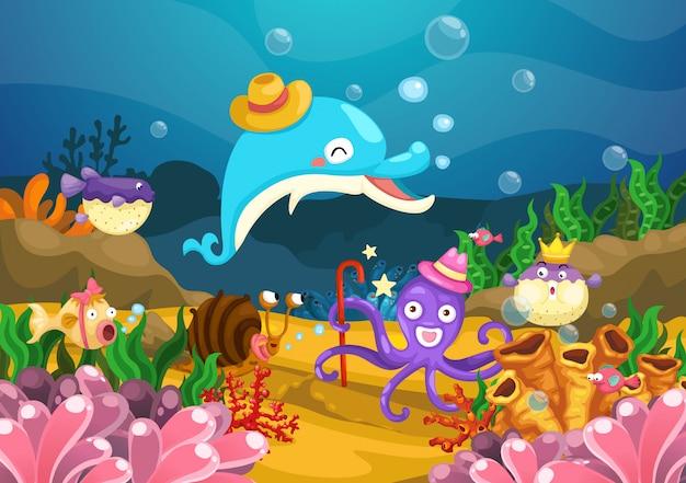 La vie marine sous le vecteur de la mer