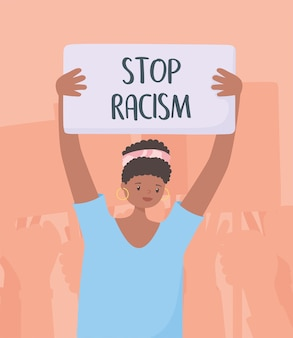 La vie noire compte bannière de protestation, femme avec bannière luttant pour l'égalité, campagne de sensibilisation contre la discrimination raciale