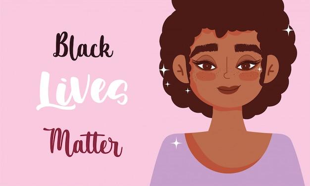 La vie noire compte, une femme afro proteste avec l'illustration vectorielle de message