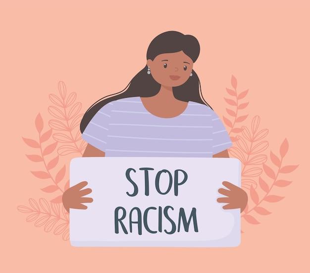 La vie des noirs compte bannière pour protester, femme tenant une pancarte et protestant contre les droits de l'homme des noirs