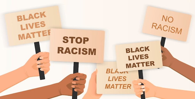 La vie des noirs compte une foule de personnes qui protestent pour leurs droits tenant des affiches dans les mains pas de racisme