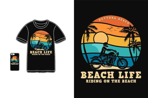 Vie à La Plage, Style Rétro Silhouette Design T-shirt Vecteur Premium