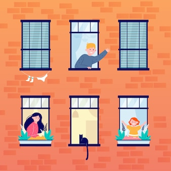 La vie quotidienne dans les fenêtres ouvertes