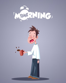 La vie quotidienne du matin. homme endormi bâillement avec tasse de café. illustration vectorielle