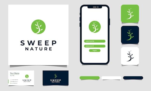 Vie simple du vecteur de conception de logo arbre avec s initial