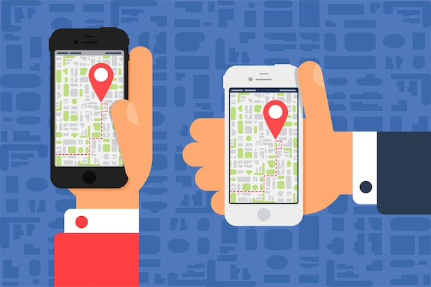Vie sociale avec smartphone. carte électronique sur smartphone à la main dans un style plat et minimaliste.