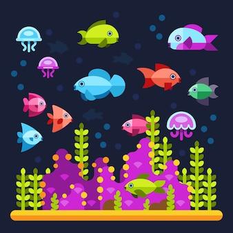 Vie sous-marine avec des animaux marins dans un style plat