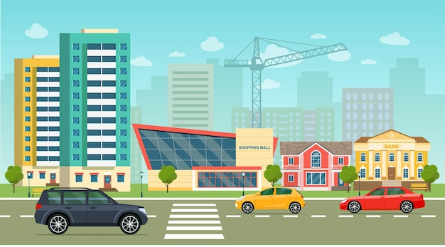 La vie en ville sertie de voitures bâtiments routiers rue de la ville panoramique vector illustration style plat