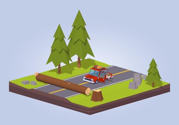 Vieil arbre isométrique lowpoly 3d s'est écrasé sur la route