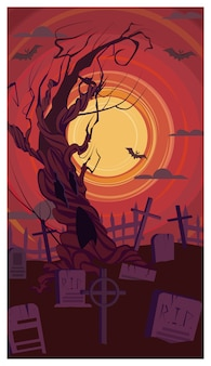 Vieil arbre nu poussant sur l'illustration du cimetière