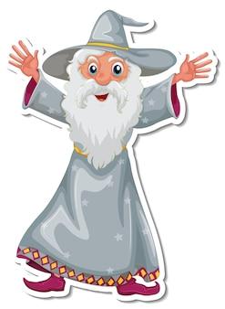 Un vieil autocollant de personnage de dessin animé de sorcier