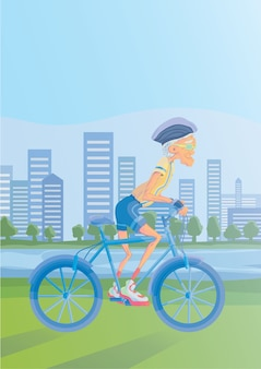 Un vieil homme aux cheveux gris, faire du vélo dans un parc au bord de la rivière. mode de vie actif et activités sportives dans la vieillesse. illustration.