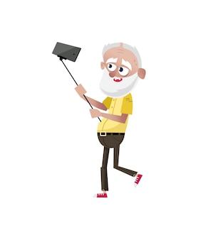 Vieil homme barbu faisant le caractère de selfie.