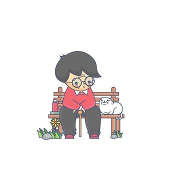 Vieil homme et le chien illustration vectorielle de caractère
