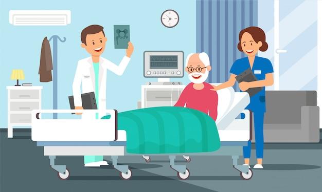 Vieil homme dans une chambre d'hôpital