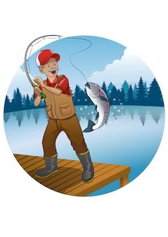 Vieil homme, dessin animé, pêche, truite, poisson