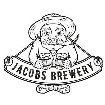 Vieil homme avec deux pintes de menu de barre de logo d'emblème de bière