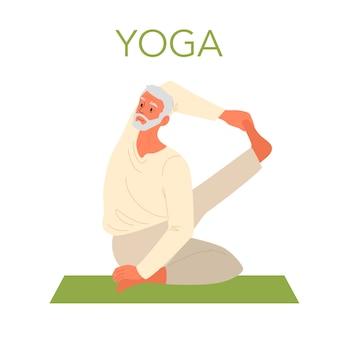 Vieil homme faisant du yoga
