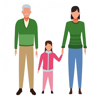Vieil homme femme et enfant avatar