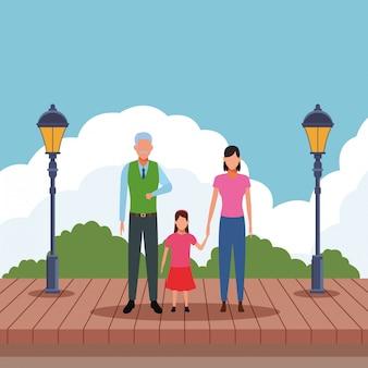 Vieil homme avec femme et enfant