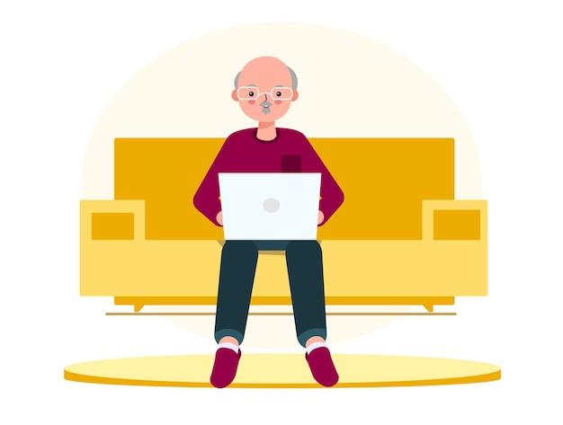 Vieil homme ou grand-père avec ordinateur portable sur le canapé illustration dans un style plat affaires en ligne