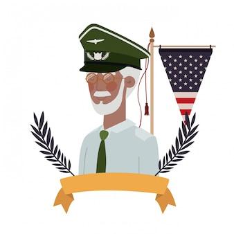 Vieil homme de guerre vétéran avec drapeau des états-unis