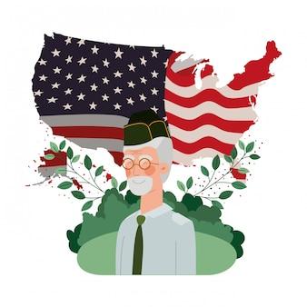 Vieil homme de guerre vétéran avec paysage et drapeau des états-unis
