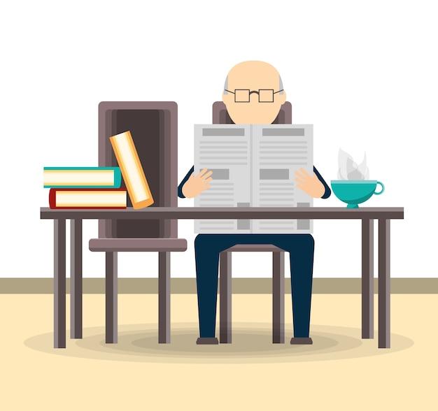 Vieil homme lisant le journal