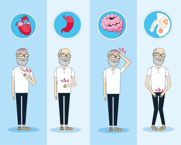 Vieil homme avec prévention du diagnostic de contrôle de la maladie