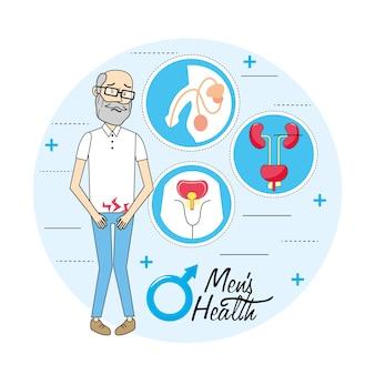 Vieil homme avec prévention de l'infection rénale