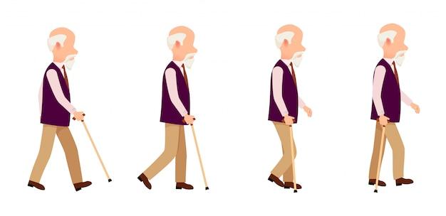 Vieil homme processus de mouvement coloré vector set