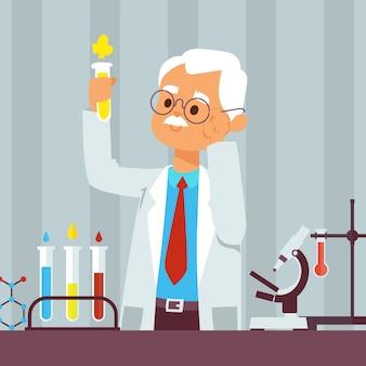 Vieil homme scientifique en laboratoire