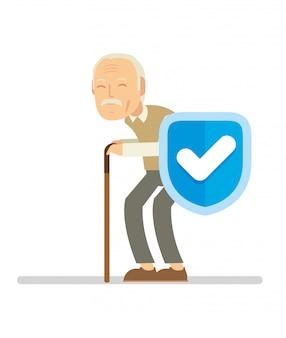 Vieil homme se protéger parce qu'il utilise l'assurance