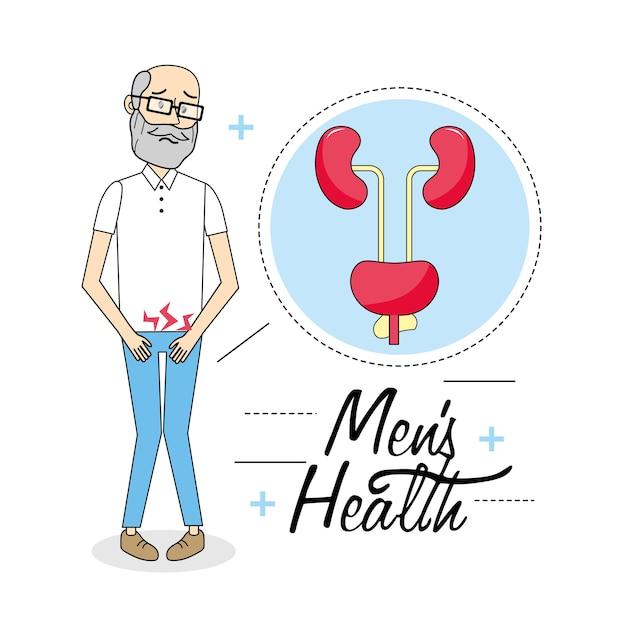 Vieil homme souffrant de la maladie du système urinaire