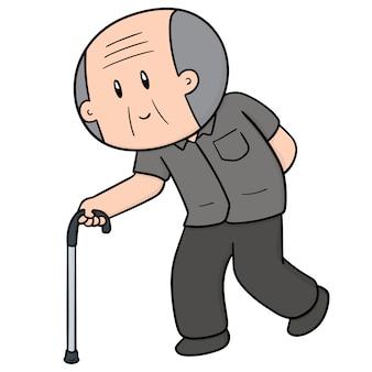 Vieil homme utilisant une canne