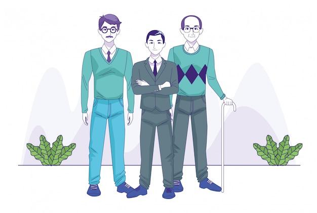 Vieillards et homme d'affaires, debout sur les plantes décoratives et fond blanc, illustration vectorielle