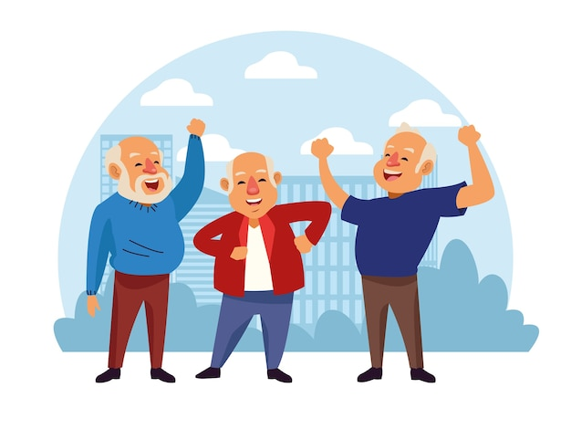 Vieillards personnages seniors actifs.