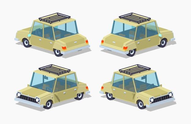 Vieille berline isométrique 3d lowpoly beige