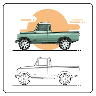 Vieille camion pickup car eas easy editable