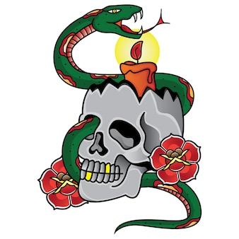 Vieille école de tatouage bougie et serpent de vecteur